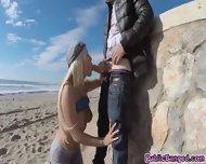 Slamming Blondies Big Ass With Hard Cock On The Beach - scene 3