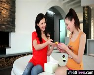 Two Pretty Teen Girls Candy Sweet And Henessy Make Out - scene 1