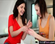 Two Pretty Teen Girls Candy Sweet And Henessy Make Out - scene 2