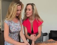 Mom And Stepdaughter Give Handjob To Young Guy - scene 9