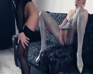 Luxury Lezzies In Pantyhose Again In Action - scene 7