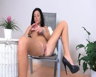 Beautiful Busty Brunette With Dildo - scene 7
