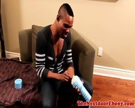 Gayblack Hunk Plays With His Fleshlight - scene 1