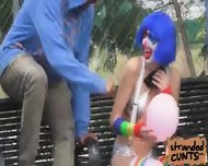 Blonde Mikayla Mico And Her Clown Make Up While Banging Doggystyle - scene 1