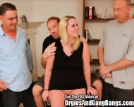 Chubby Bitch Surrounded By Cumming Dicks - scene 2