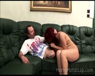 Big Boobed Red Haired Milf Sucks Crippled Pervs Dick - scene 7