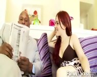 Redhead Teen Wanna Know If Her Black Stepfather Has A Huge One - scene 1