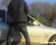 Amateur Guy Fucks His Gf From Behind Through Car Window - scene 2