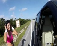 Teen Nadia Flashes Cars With Her Tits To Get A Free Ride - scene 2
