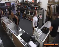 Brunette Waitress Gives Pawnshop Owner A Handjob For Tips - scene 3