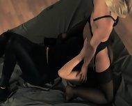 Brunette Pornstar Gets Fucked With Strap On - scene 6