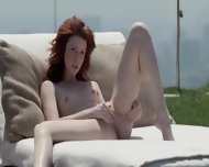 Bewitching Redhead Opening Vagina Outside - scene 12