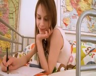 Teen Schoolgirl Doing Hole Homework - scene 3
