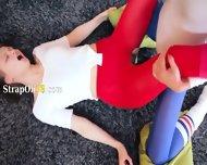 Hot Girl2girl In Pantyhose Enjoying Strap - scene 9