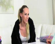 Brunette Female Agent Gets Cunt Eaten On Casting - scene 2