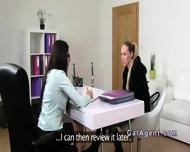 Brunette Female Agent Gets Cunt Eaten On Casting - scene 3