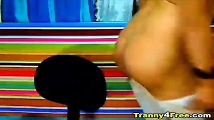 Big Cock Tranny Masturbates Her Cock - scene 2