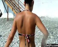 Young Couple Flashing On The Beach - scene 4