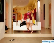 Three Cute Teen Girls Pleasuring One Another On The Couch - scene 1