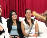 Women Watch Men Using Hand Job Toy - scene 8