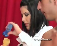 Women Watch Men Using Hand Job Toy - scene 4
