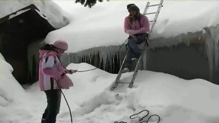 Lesbians having Fun in the Snow - scene 1