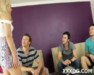 Hot Young Perky Blonde On Three Cocks - scene 3