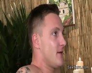 Tattooed Guy Gets Cock Massage Until Cums - scene 11