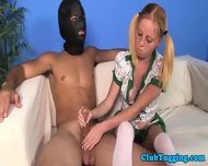 Petite Teen Tugging Some Dude With A Gimpmask - scene 12