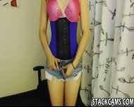 Babe In Tight Corset Dildoes - scene 2