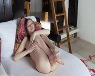 Skinny Sweetie Opening Her Hairy Cunt - scene 12
