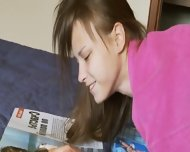 Schoolmate Masturbating And Watching Magazine - scene 12