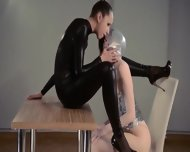 Adorable Strapon Lesbians In Mask Playing - scene 2