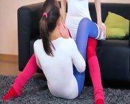 Stunning Lezzies In Pantyhose Enjoying Strap - scene 3