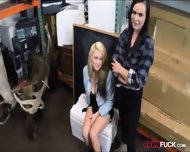 Sexy Lesbian Couple 3way With Pawnkeeper In The Backroom - scene 3