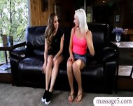 Two Sexy Babes Kissing And Munching On Each Other On A Couch - scene 2