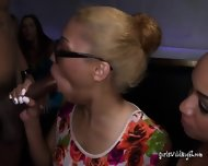 Two Nerdy Chicks Share And Suck Big Black Cock - scene 4
