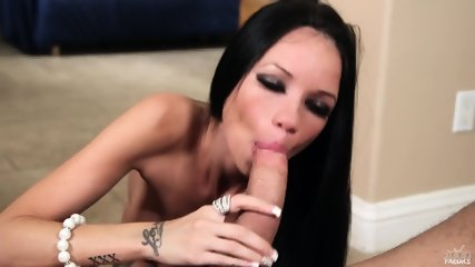 Beautiful Brunette Sucks Hard Penis