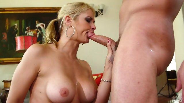 Busty Lady Sucks Dick