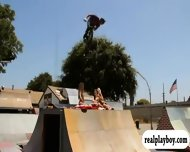 Girls Have Fun In The Summer With Snow And Doing Bmx Stunts - scene 10