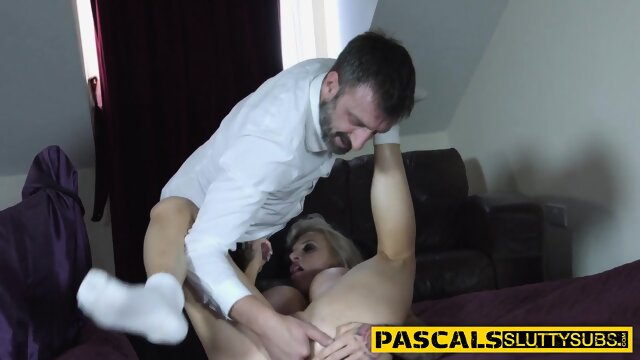 Busty submissive gets fingered