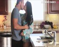 Stunning Brunette Jasmine Caro Glamcore Sex On Kitchen Top