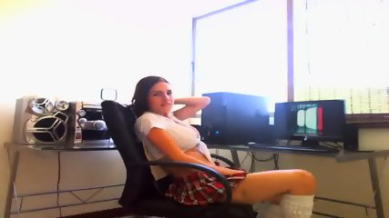 Naughty Schoolgirl Fingering Herself While On The Webcam - scene 1