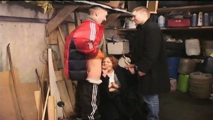 Russian Gang Boys sucked by old Slut - scene 12