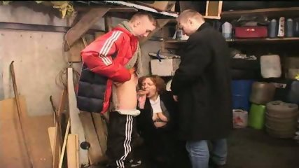 Russian Gang Boys sucked by old Slut