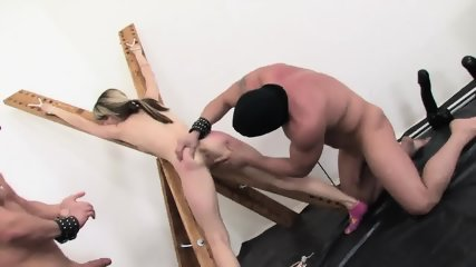 Double Penetration Of Teen In Bondage - scene 3