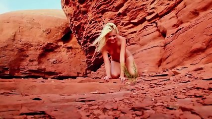 Blonde Striptease In The Mountains