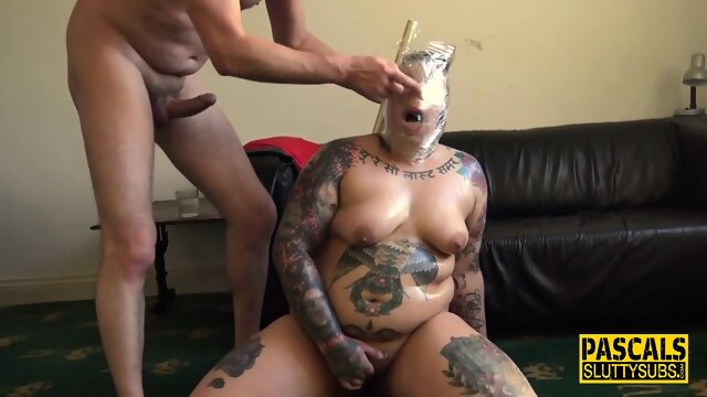 Fat spidergagged submissive gets fucked