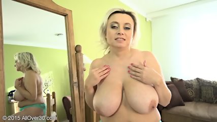Mature Blonde Shows Her Big Boobs - scene 10