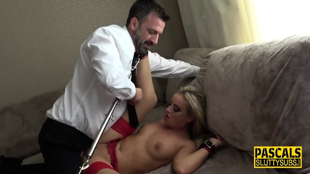Ass paddled bound submissive blonde